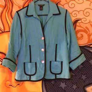 Yarns and Stitches blue linen jacket.